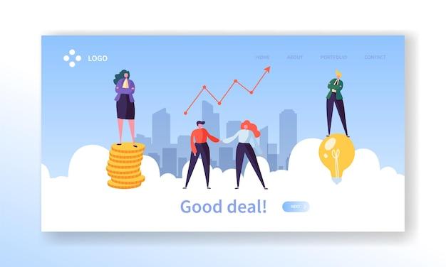 Целевая страница концепции рукопожатия бизнес-сделки.