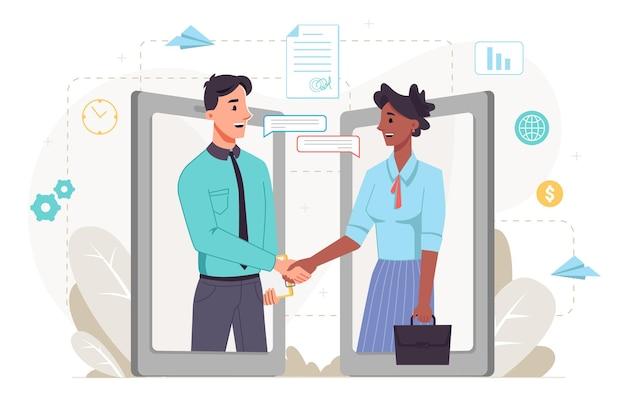 を使用して従業員と上司の人々のインターネットオンラインコミュニケーションで行われたパートナーの商取引