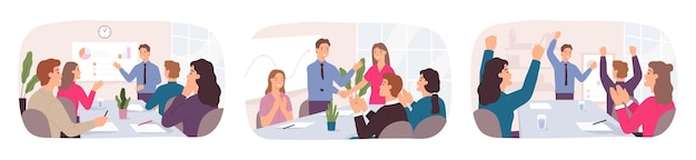 商取引の成功。オフィスの人々は、会議、パートナーシップの握手、チームのお祝いでアイデアについて話し合います。従業員のキャリア成長ベクトルの概念。イラストオフィスディスカッションとビジネスマンとの出会い