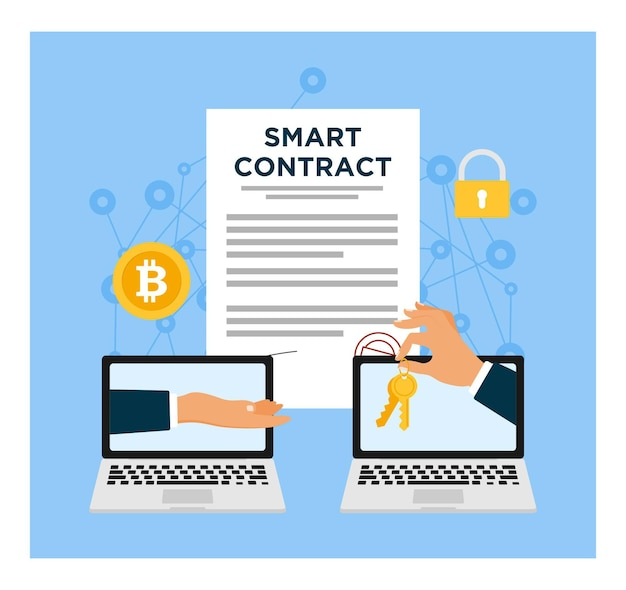Business deal with smart contract concept