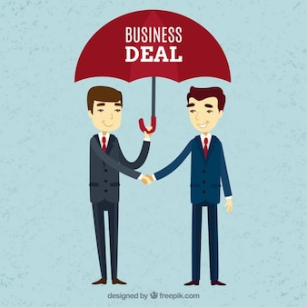 Business deal with umbrella background