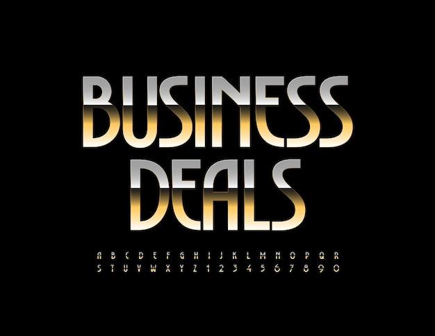 Business deals elegant gold font artistic alphabet letters and numbers set