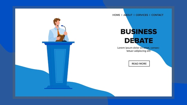 Business debate on convention or conference vector. man speaker have speech and business debate on meeting. character businessman stay at tribune and speak in microphone web flat cartoon illustration