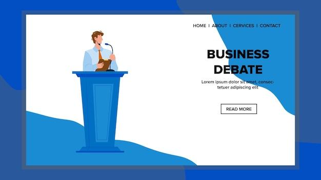 Деловые дебаты на векторе съезда или конференции. спикер человек выступил с речью и деловыми дебатами на встрече. персонаж бизнесмен оставаться на трибуне и говорить в микрофон веб-плоский мультфильм иллюстрации