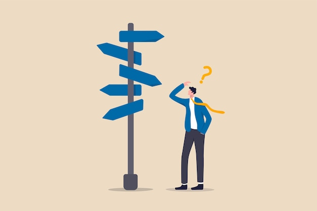 Business decision making, career path, work direction or leadership to choose the right way to success concept