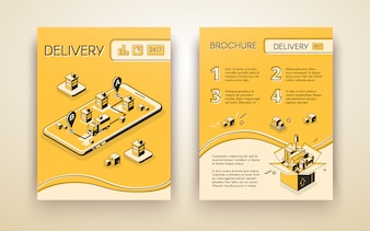 Business delivery, logistic startup mobile service advertising brochure