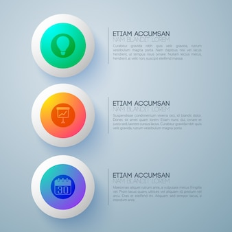 Business design concept with three futuristic round buttons and infographic pictograms with description text paragraphs