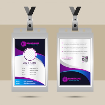 Business  design elements for graphic layout of corporate id card. modern abstract background template with gradient blue purple in  wave curve shapes in minimal style. circle space for photo.