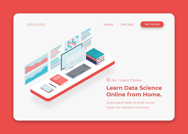 Business desk for economic analysis and data science isometric illustration