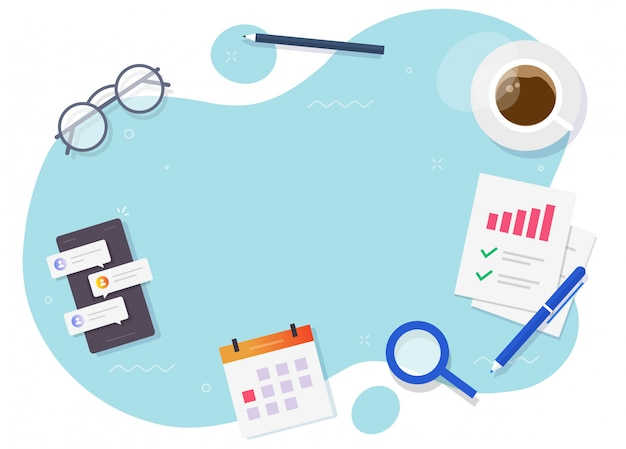 Business desk table workplace vector flat lay