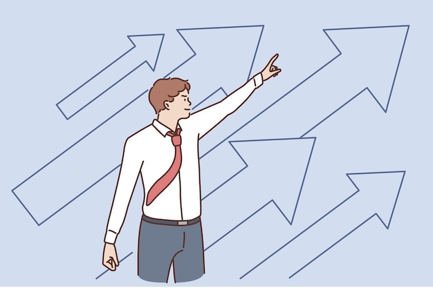 事業開発と成功のコンセプト。成長と開発のベクトル図に自信を持って矢印で上向きに立っている若いポジティブビジネスマン