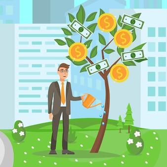 Развитие бизнеса, растущая иллюстрация стартапа