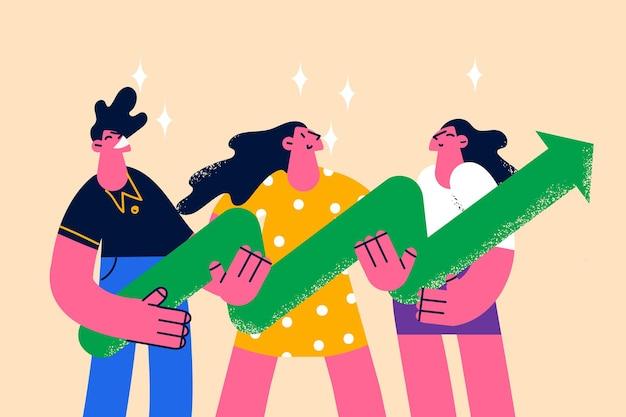 Развитие бизнеса, успех, концепция совместной работы. молодые деловые люди мультипликационные персонажи, стоящие с огромной зеленой стрелкой в руках, что означает развитие векторные иллюстрации