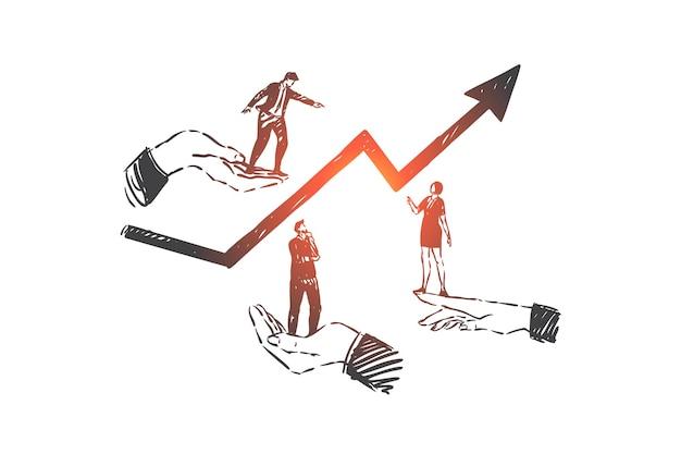 Развитие бизнеса, работа в команде, иллюстрация эскиза концепции карьеры