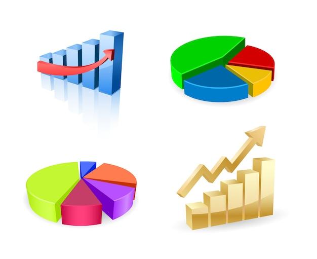 Business diagram graph 3d icon set