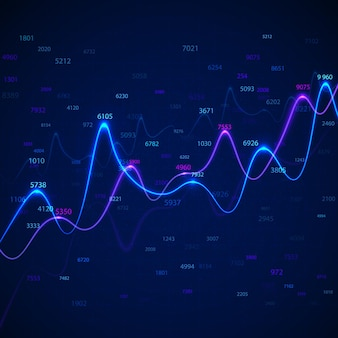 Business diagrams and charts on blue background with random numbers.