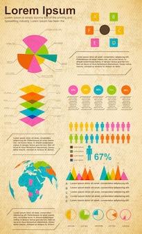 Modello di grafici di diagrammi aziendali per presentazione e rapporto percentuale