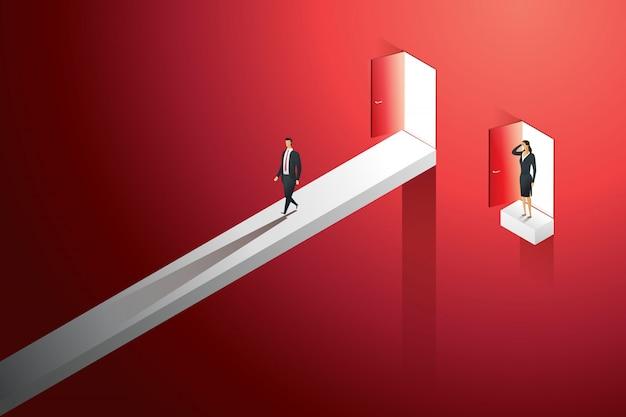 男性と女性の間のビジネスの異なる不平等なキャリアの機会。図