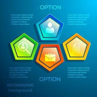 テキストの光沢のあるカラフルな六角形とアイコンでビジネスデジタルインフォグラフィックコンセプト