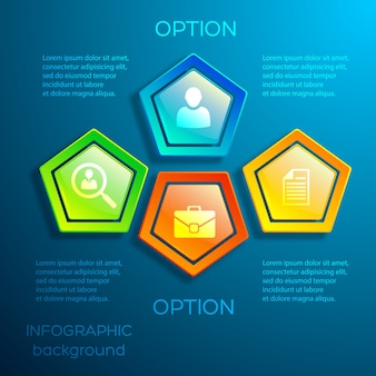 Business digital infographic concept with text glossy colorful hexagons and icons