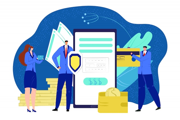 Business digital money online protection, smartphone banking  illustration. credit card data with finance concept and mobile payment. people use phone security technology, electronic .