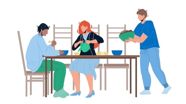 비즈니스 식사 및 레스토랑 벡터에서 회의입니다. 사업가들은 식사를 하고 성공 거래 계약을 축하합니다. 캐릭터 남자와 여자 함께 카페에서 음식을 먹는 평면 만화 일러스트 레이 션