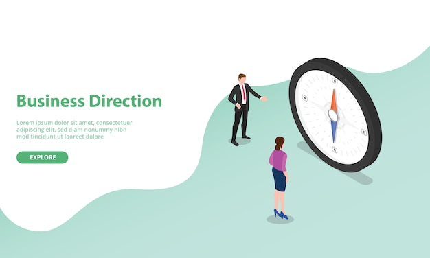 Business direction discussion with compass as symbol with isometric modern style for website template or landing homepage