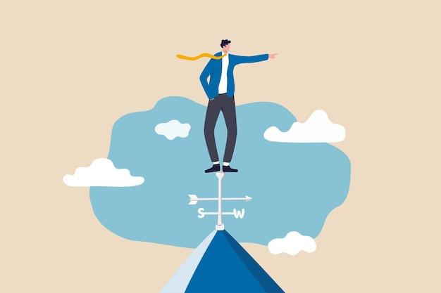 성공, 리더십 및 비전 개념을 달성하기위한 비즈니스 방향.
