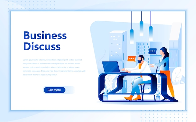 Business discuss flat landing page template of homepage