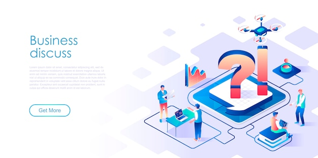 Business discuss isometric landing page template
