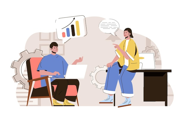 Business discussion web concept illustration with flat people character