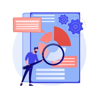 Business documents scanning. electronic online doc with pie chart infographics. data analytics, annual report, result checking. man with magnifying glass concept illustration