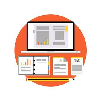Documenti aziendali con una matita e un computer portatile