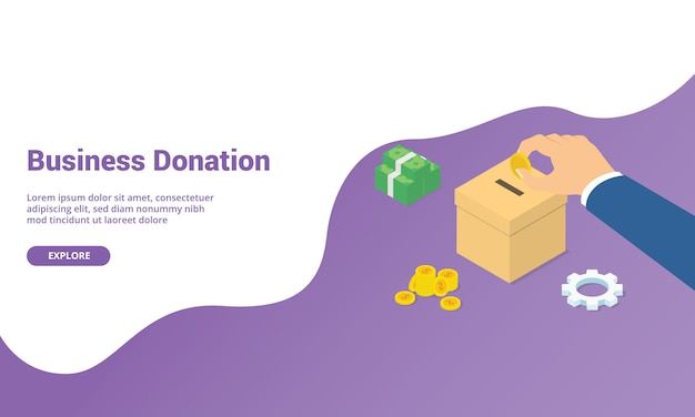 Business donation money isometric for website template or landing homepage banner