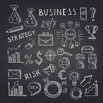 Business doodle icons on black chalkboard illustration. chalkboard doodle sketch business, blackboard drawing