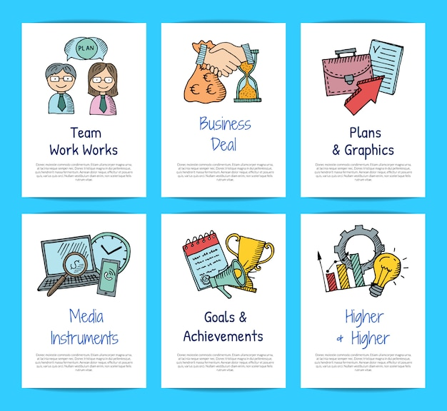Business doodle icons card templates set