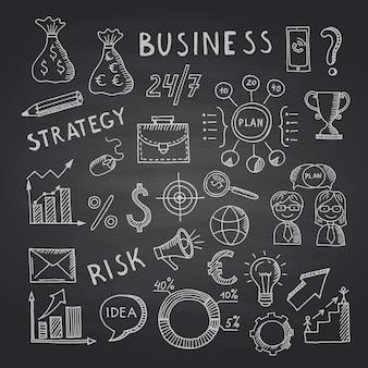 黒の黒板イラストにビジネス落書きアイコン。黒板落書きスケッチビジネス、黒板デッサン
