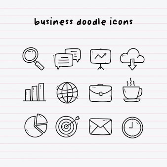 Business doodle icons on paperline