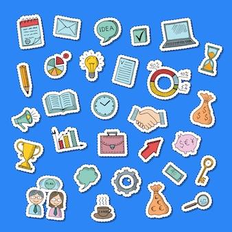 Business doodle stickers set illustration