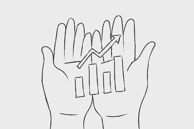 Grafico di crescita di vettore di doodle di affari sulle mani