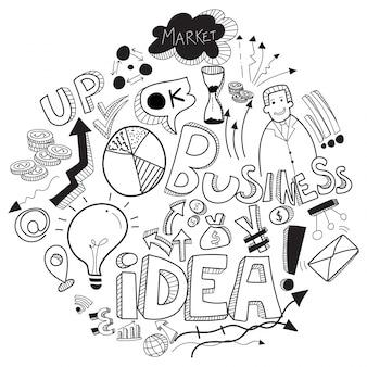 Бизнес каракули, с черно-белым знаком бизнеса, символами и значками.