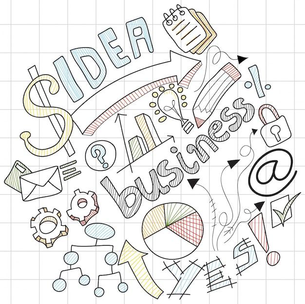 カラフルなビジネスサイン、シンボル、アイコン付きのビジネス落書き。