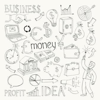 Doodles di affari, illustrazione di vettore di scarabocchio della mano su bianco