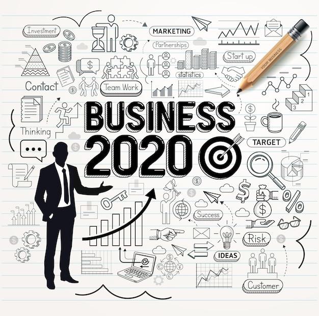 Набор иконок каракули бизнес рисунок
