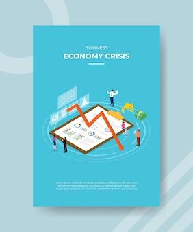 Gente di crisi di economia aziendale che sta intorno ai soldi della freccia giù della lavagna per appunti del grafico