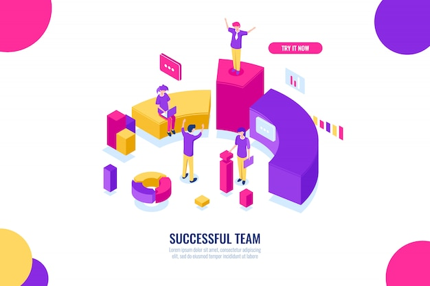 Business education and consultancy, success team work, leader and leadership isometric concept, data