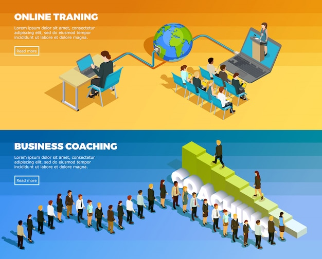 Business education isometric horizontal banners