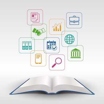 Открытая книга концепции бизнес-образования векторные иллюстрации