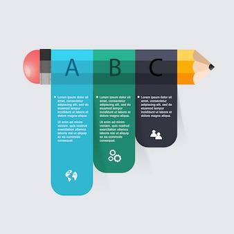 ビジネス教育鉛筆階段インフォグラフィックオプション。