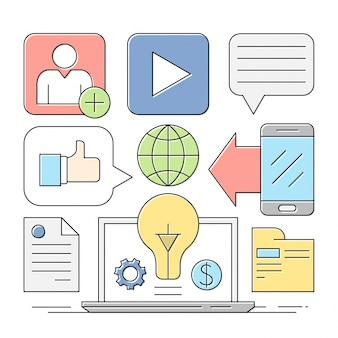 Линейный стиль иконки minimal web и бизнес элементы красочные обои
